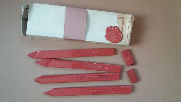 Стар червен восък за печати ДИП Волов Шумен