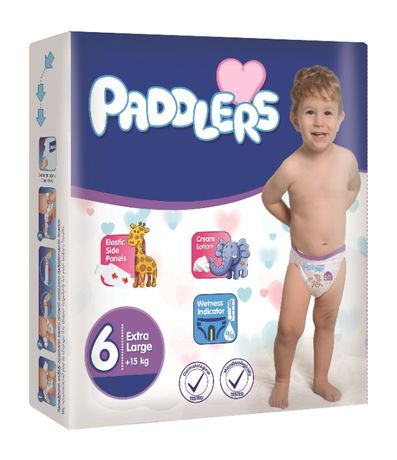 76 Buc Scutece Copii, Paddlers, -35%, X Large, +15kg, Marime 6