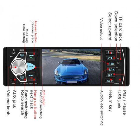 Radio MP3 Mp5 Player auto 1DIN Bluetooth Handsfree USB Auxiliar LCD