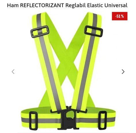 Ham reflectorizant reglabil, material elastic, banda 4cm, verde