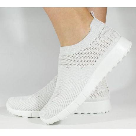Pantofi sport slip-on albi tricotati elastic 138174
