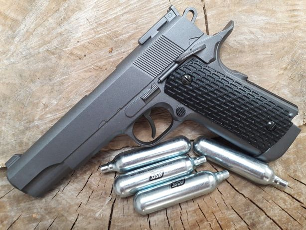 Colt 1911 FULL METAL 4.5j puternic upgradat pistol airsoft+ Cutie+ co2