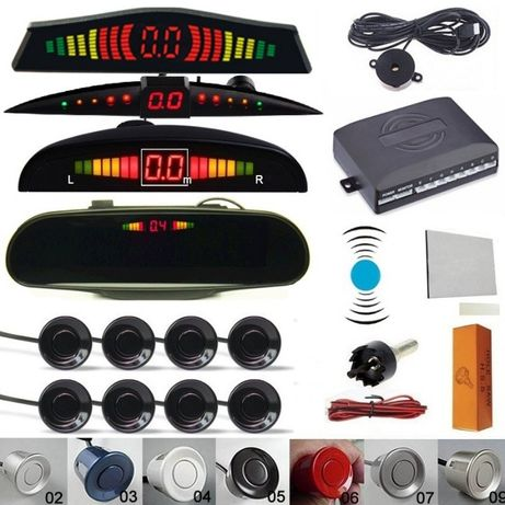 Senzori parcare auto fata spate display buzzer wireless 4 8 set kit