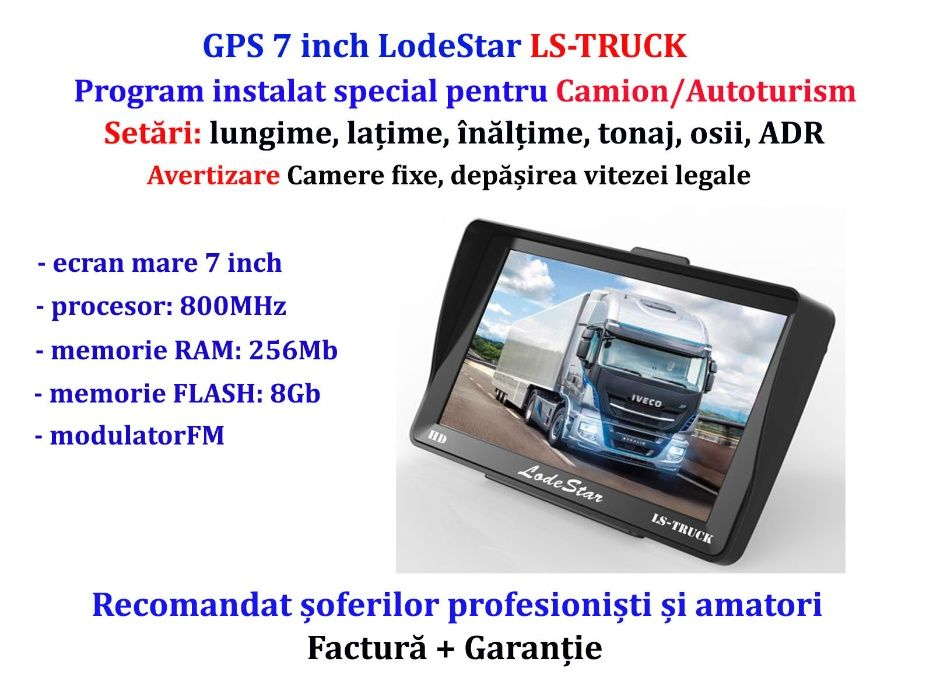 """GPS 7""""HD program iGO Primo harti 2021 special TIR/Camion/Autoturism"""