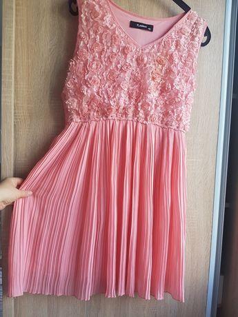 Rochie ocazie roz-somon mas 40, M, plisata