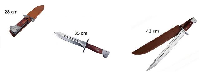 Cutit baioneta inscriptionat AK 47 28 / 35 / 42 cm teaca Vanatoare