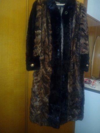 Дамско дълго кожено палто-естествен косъм -визон