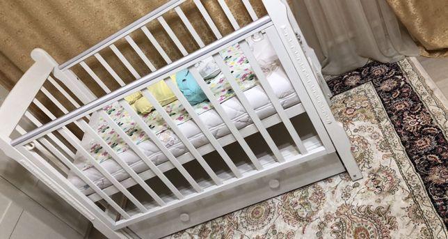 Детская кровать в подарок матрац бортики тюль игрушка музыкальн