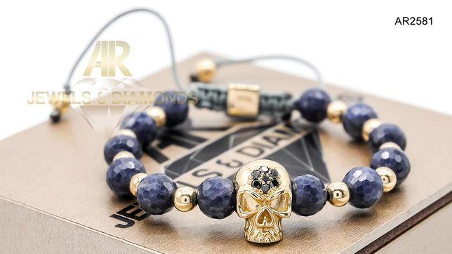 Bratara Aur 14 K cu DIAMANTE NEGRE Skull Collection AR JEWELS(AR2581)