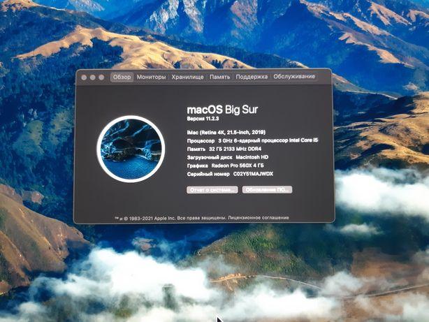 IMac 2019.21,5-дюймовый (4096×2304)  опертивка-32 гб / диск HD-1 тбайт