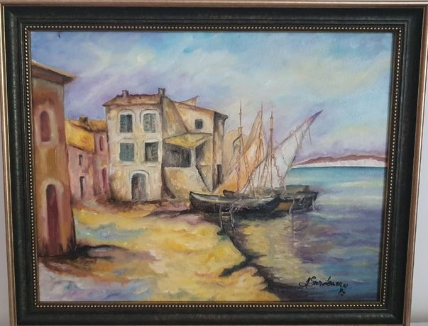 "PICTURA, TABLOU modern, ""Sat pescaresc in Italia "", nou, pictor roman"