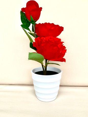 Светещи рози в саксия с вградена кутия за пръстен