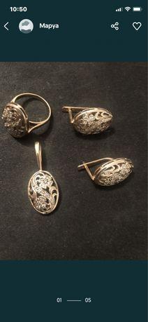 Золото комплект за 320000тг.(серьги, кулон икольцо 17-18 р)Сатп-Розыба