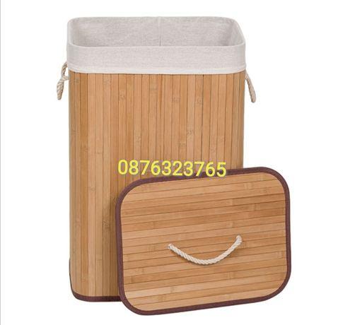 Бамбуков кош за пране с капак и дръжки