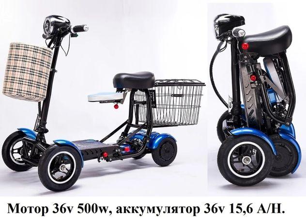 Скутер 4-х колесный. Мотор 36v 500w, аккумулятор Li-ion 36v 15,6 A/H.