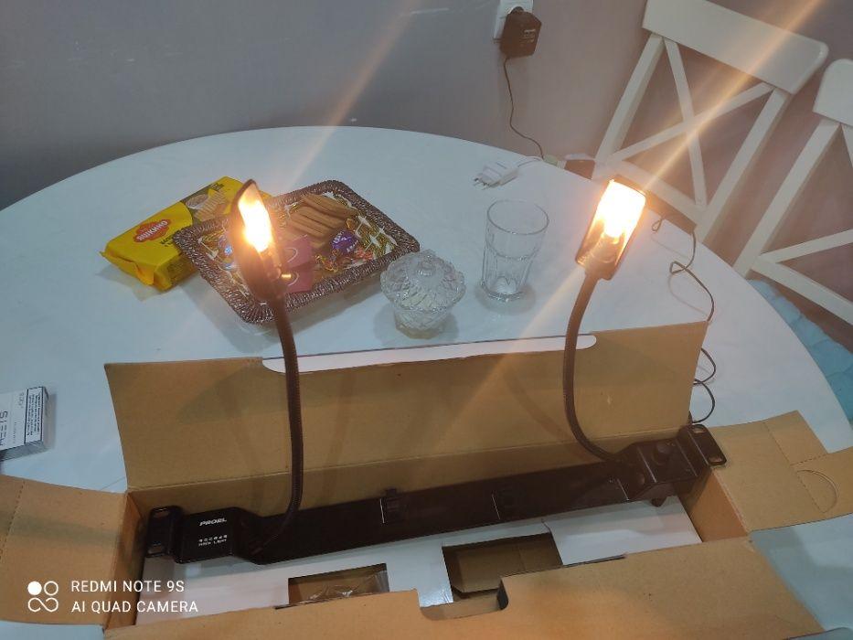 """Рэковая панель с 2-мя лампами 19"""": Гусиная шея: длина 330мм"""