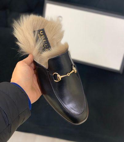 Saboti papuci Gucci piele/blana naturala PREMIUM