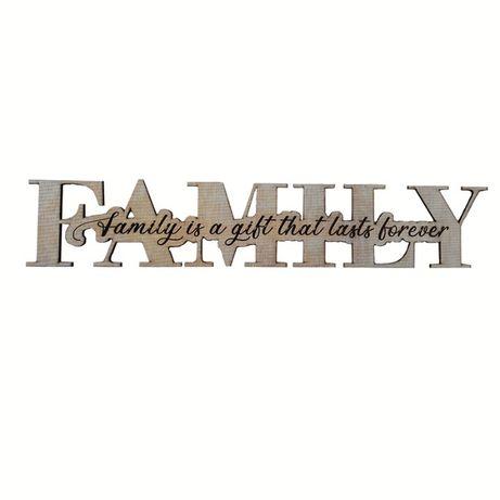 "Decoratiune ""Family"" mesaj gravat, interior, lemn"