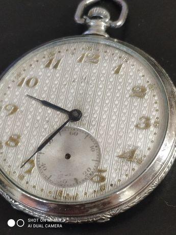Tellus ceas de buzunar argint mecanism rar funcționare excelentă