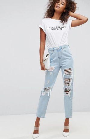 asos original mom jeans blugi dama franjurati si rupti marime 26
