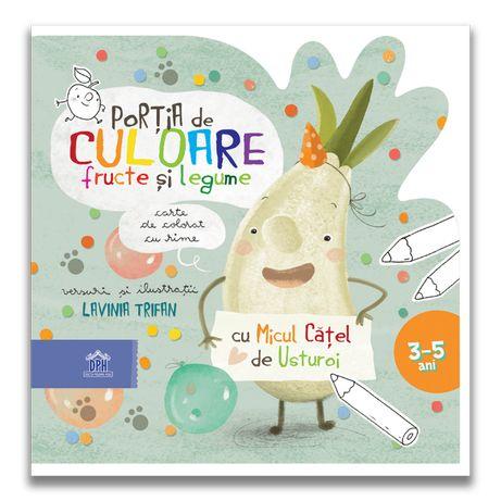Portia de culoare : Fructe si Legume -Carte de Colorat cu Rime