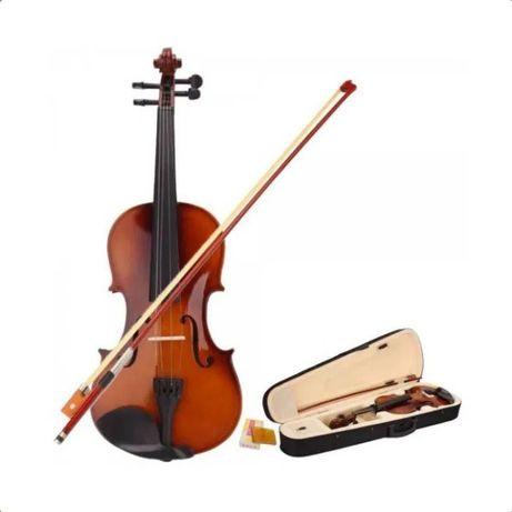 Vioara acustica din lemn 4/4 maro,arcus,sacaz,calus si toc inclus