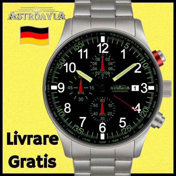 ASTROAVIA Ceas Barbat din Germania Cronograf Pilot Aviator Quartz 3ATM