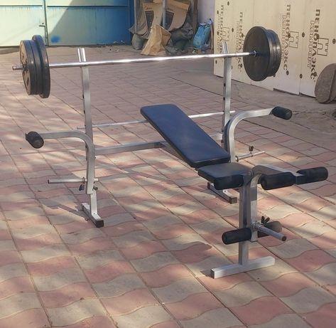 Многофункциональный скамья  с штангой 80 кг