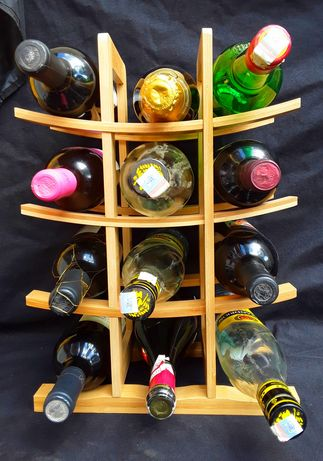 RAFT ORNAMENTAL pentru 12 sticle Vin din lemn BAMBUS NOU - 50 Lei