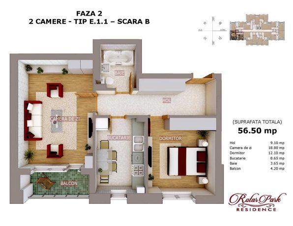 Apartament 2 cam Rotar Park Residence la 400 m de Metrou Pacii