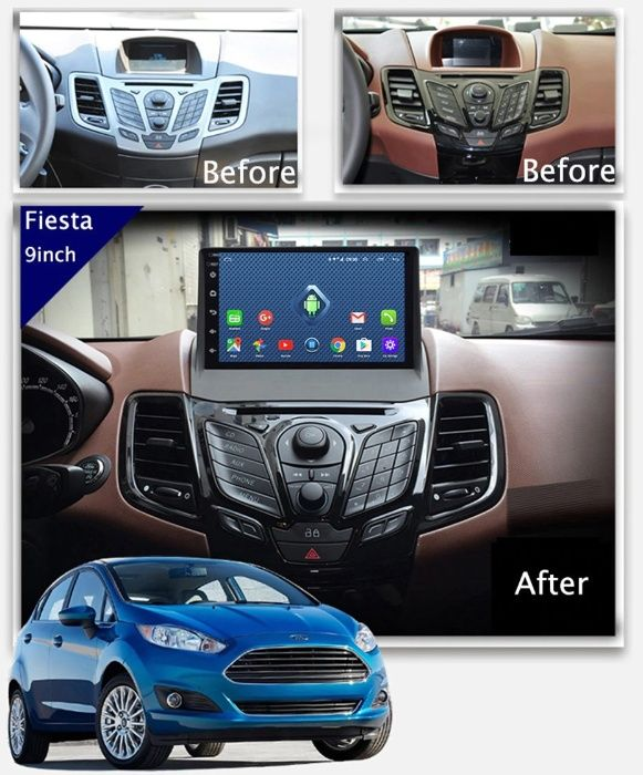 Navigatie Ford Fiesta 9 inch 2009-17 Android Usb Bluetooth Wi-Fi Waze