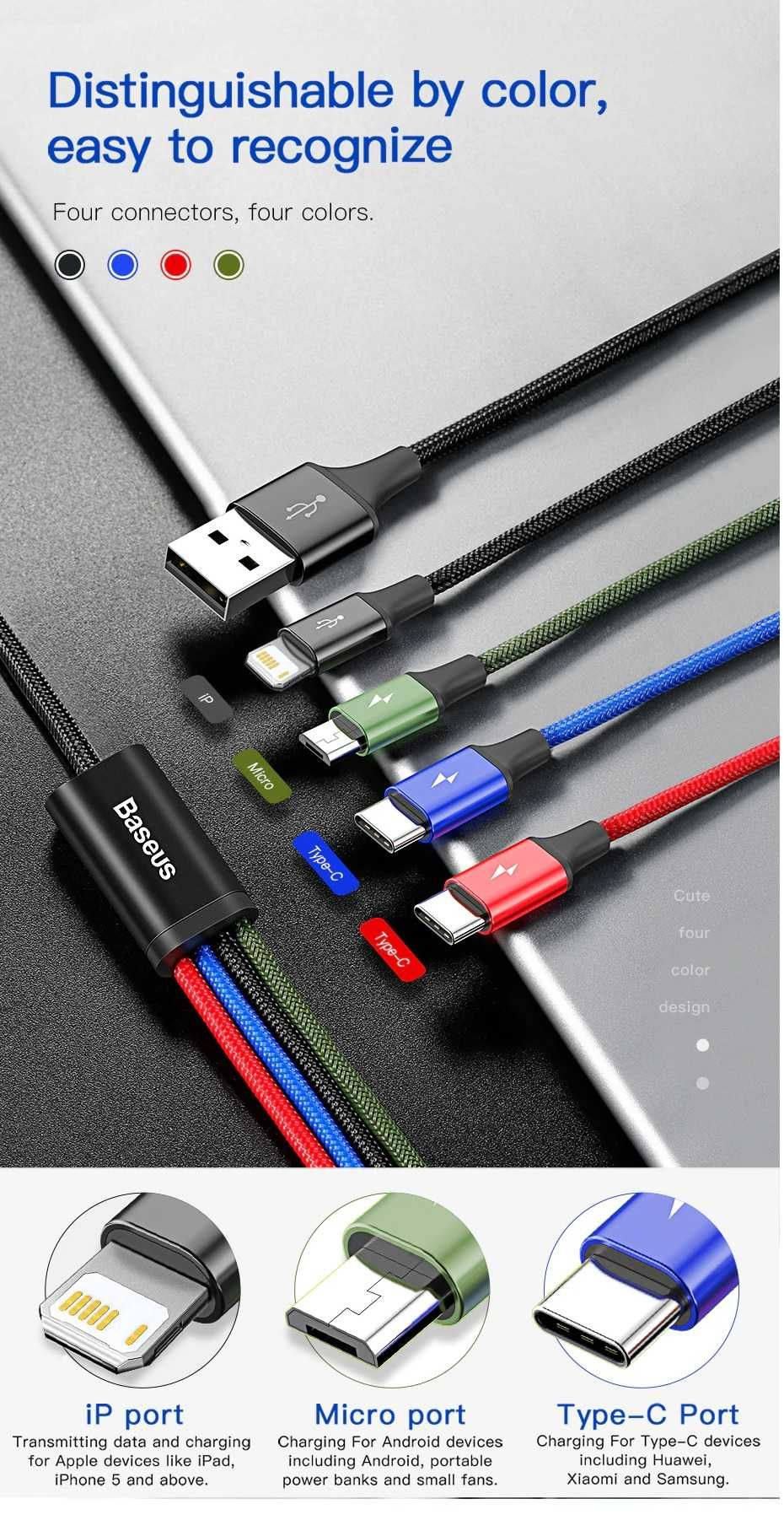 4 in 1 USB Cable for 2xiPhone / Micro / Type-C Fast 3.5A FAST Baseus