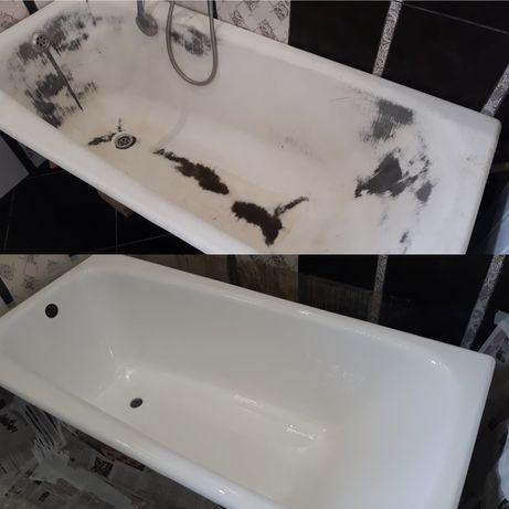 Реставрация эмали ванн наливным акрилом