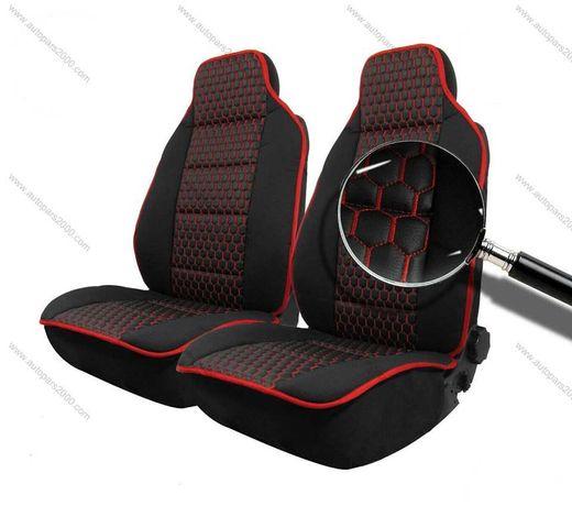 Калъфи за предни седалки тип Масажор M STYLE / Черно с червен шев