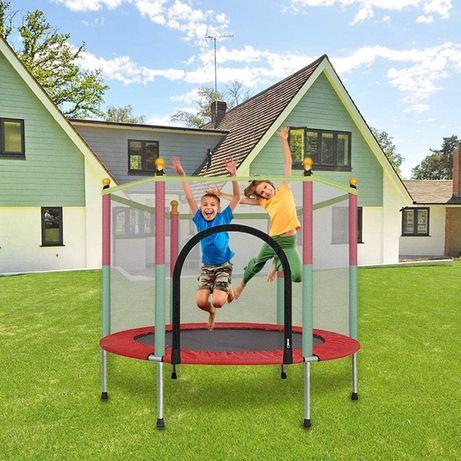 Trambulina copii 122x140cm cu plasa de protectie, multicolora
