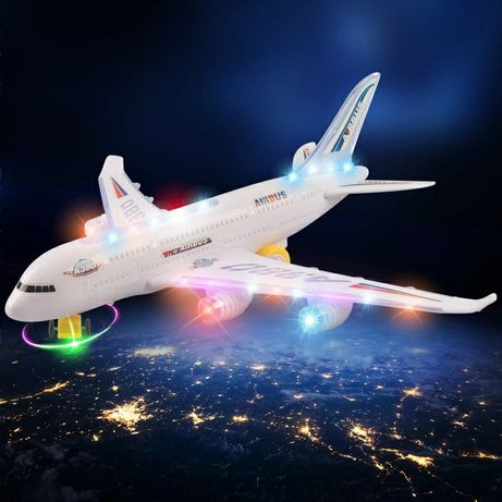 Avion pe autopilotare cu lumini led flash/sunete 30 cm