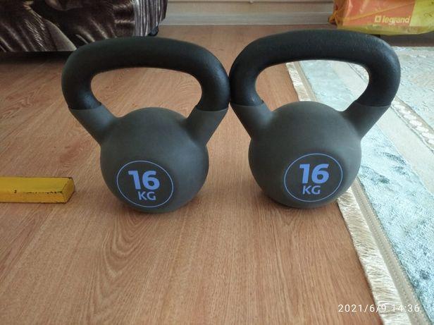 Продам 2 новые гири по 16 кг