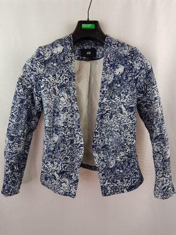 Sacou dama H&M marimea 36 S fara nasturi blazer albastru alb B21