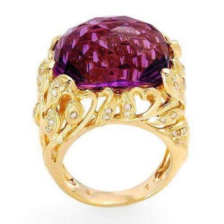 Inel aur cu diamante si amethyst 15 grame