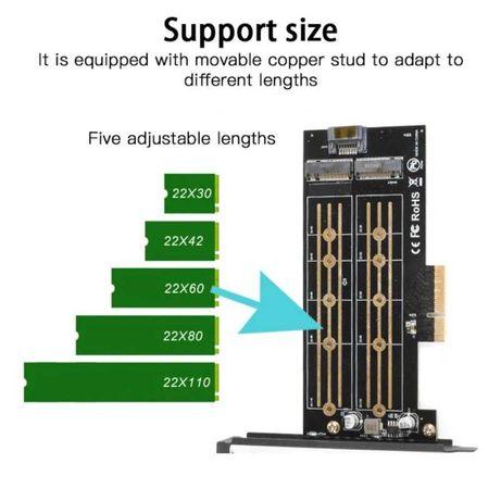ДВОЕН преходник M.2 (M2) SSD NVME към PCI-E 3.0 x4 + Гаранция