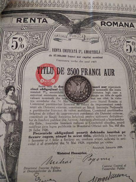 2500 Franci Aur Renta Romana 1929 Titlu de Stat obligatiune neincasata