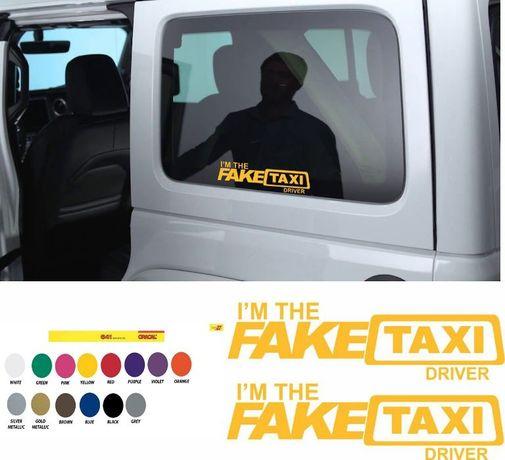 Fake taxi стикер 2 броя ауди бмв форд опел audi taxi sticker