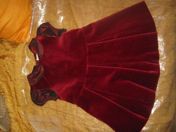 Кадифена рокля с подплата 74 размер, 6-9 мес.