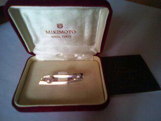 Сребърна щипка за вратовръзка с перла Mikimoto