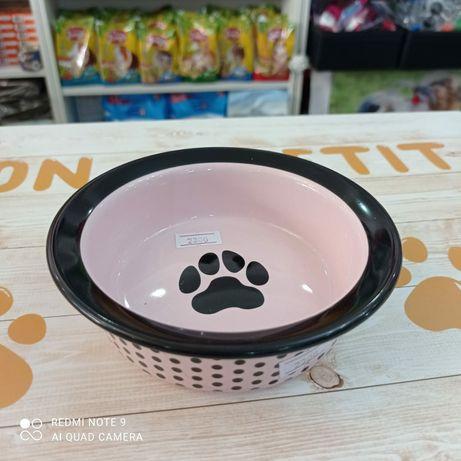 Керамическая розовая миска для кошек