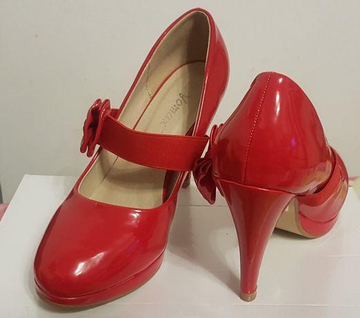 Pantofi dama, rosu lucios