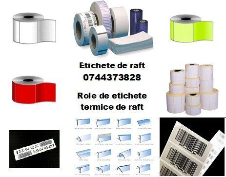 Role etichete hartie termica, culori si marimi diverse.