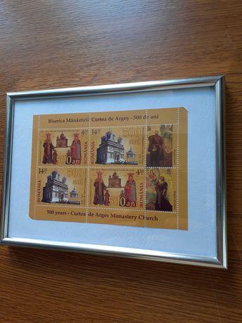 "Tablou bloc timbre ""Biserica Manastirii Curtea de Arges - 500 de ani"""