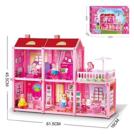 Детска двуетажна къща с кукла и обзавеждане - Код W3909