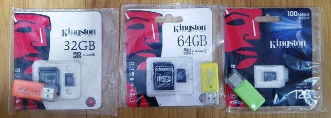 Card de memorie Kingston MicroSDHC 64GB clasa 10, Kit adaptorSD si USB